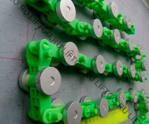 Отклоняющая цепь балюстрады SJEC, 22 пары роликов, зелёные звенья / Обводная цепь