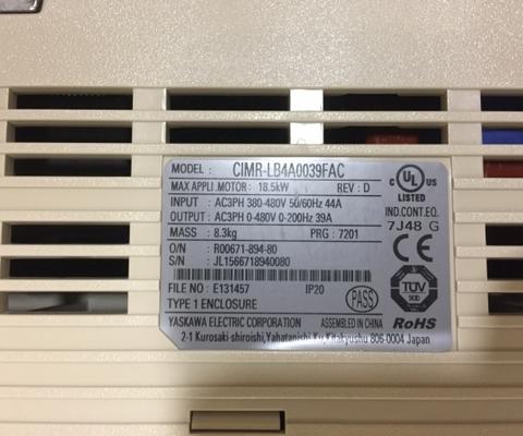 Частотный преобразователь YASKAWA L1000A CIMR-LB4A0039FAC 18,5 кВт REV:D